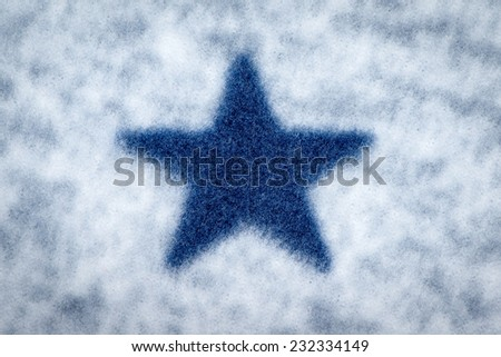 Fleece fabric with blue star pattern texture closeup photo background. - stock photo
