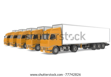 Fleet of Trucks, side view. Part of Warehouse and Logistics Series - stock photo