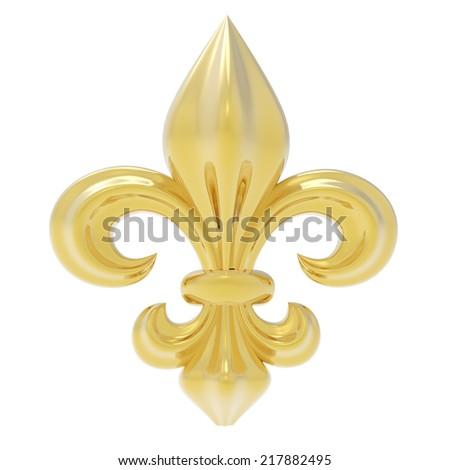 Fleur de lis isolated on white - stock photo