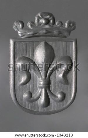 Fleur-de-Lis - Pewter Royal Coat of Arms - stock photo