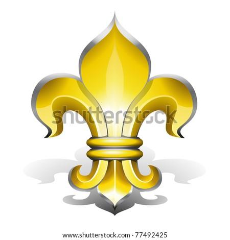 Fleur de Lys, antique symbol of french royalty - stock photo