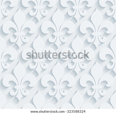 fleur de lys pattern white perforated stock illustration 323588324