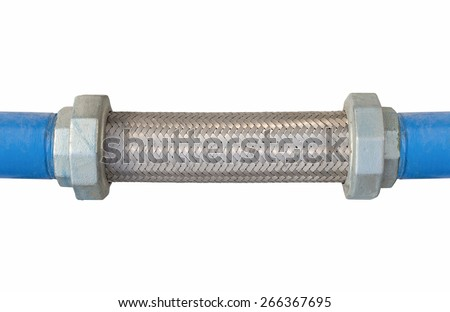 Flexible connector of steel pipe isolated background. - stock photo