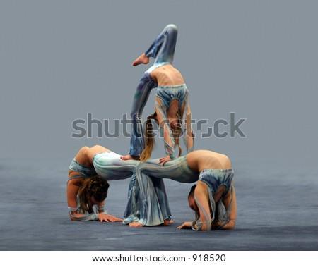 Flexible girls - stock photo