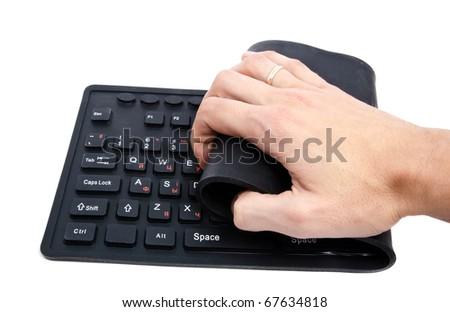 flexible keyboard, isolated on white - stock photo