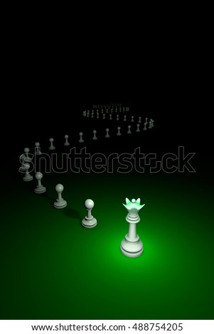 Flexible Policy. Vertical chess composition. 3D render illustration. Black background layout with free text space.