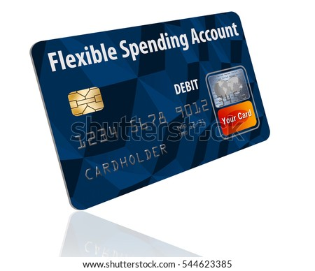 Flexible Spending Account debit card isolated on a white background. Card is generic mock version of a card linked to an employee's medical insurance flexible spending account (FSA).