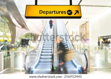 Flight, arrival and departure board at the airport, London - stock photo