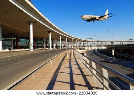 flight arriving - stock photo
