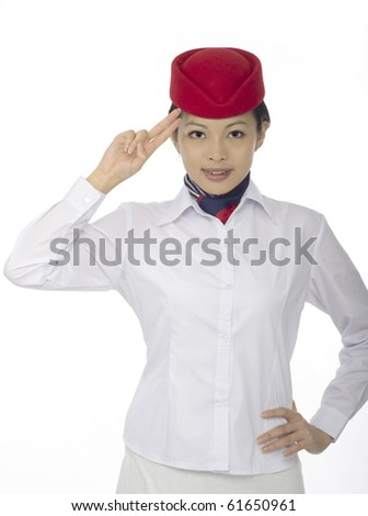 flight attendant on white background