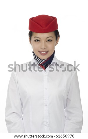 flight attendant on white background - stock photo