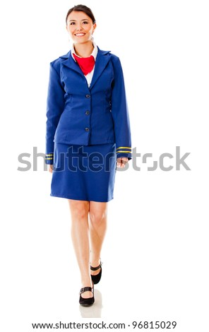 Flight attendant walking - isolated over a white background