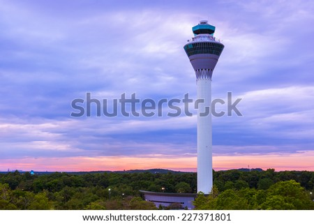 Flight control tower in Airport at Kuala Lumpur (Malaysia) - transportation background - stock photo
