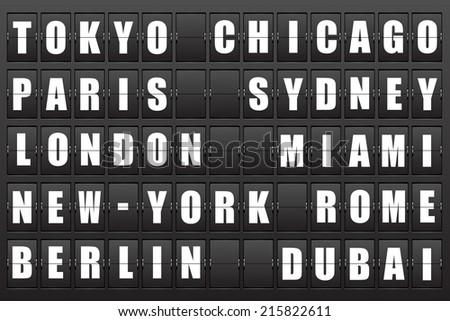 Flight destination, information display board named world cities Tokyo, Chicago, Paris, Sydney, London, New York, Berlin, Dubai, Miami, Roma. Scoreboard airport. Illustration.  - stock photo