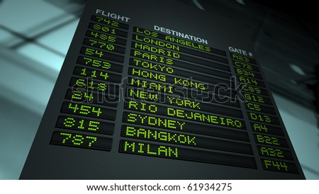 Flight information board in airport terminal - stock photo