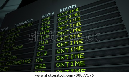 Flight information board in airport terminal. 3D illustration. - stock photo
