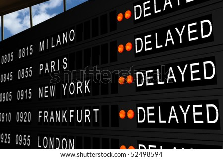 flight information board with canceled flights - stock photo