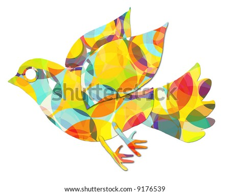 flight of a colorful bird / dove Illustration. Done to simulate a paper-cut sticker / craft styling.