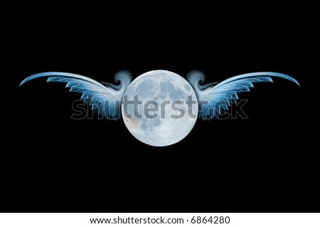 Flight of Fantasy Planet with detailed wings and central room for text, or Moon can be replaced with your own logo - stock photo