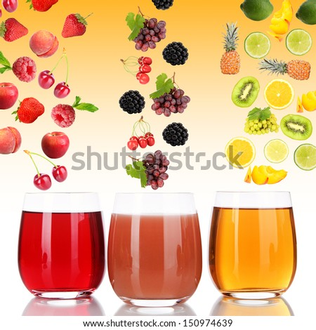 Flight of fruits and berries in glass of juice on yellow background - stock photo