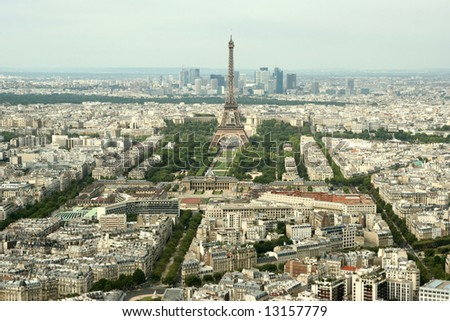 Flight over Paris.France - stock photo