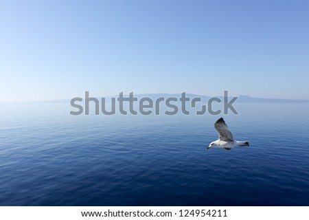 Flight over the Aegean Sea, Peninsula, Greece.