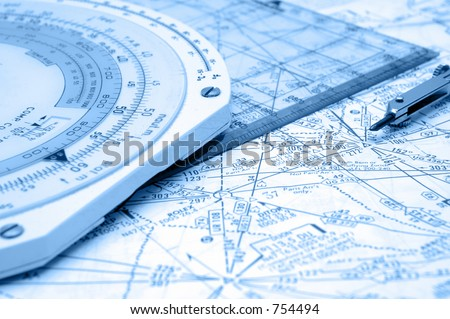Flight Planning on Airways with some old instruments - stock photo