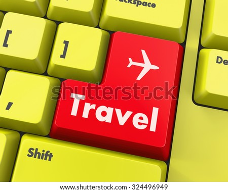 Flight sign in place of enter travel key - stock photo