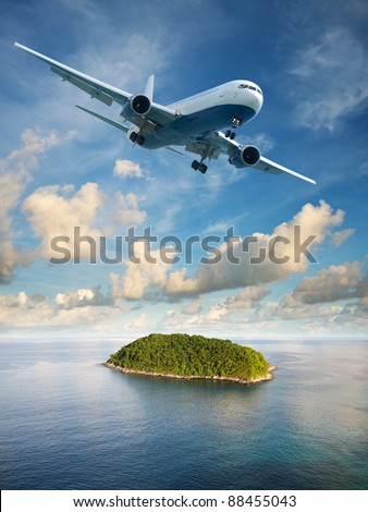 Flight to paradise. Summer vacation theme. Vertical composition in very high resolution.