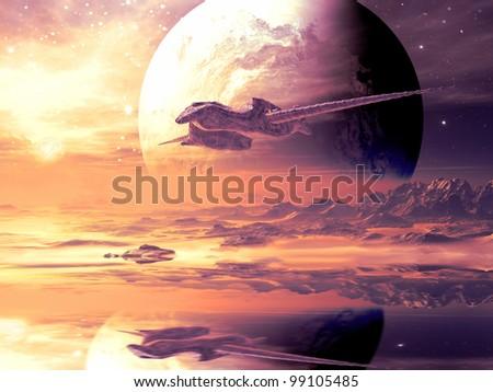 Flightpath of Alien Spaceship - stock photo