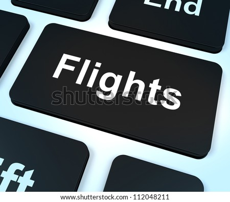 Flights Computer Key Shows Overseas Vacation Or Holiday Booking