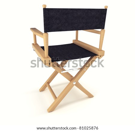 Flim industry: back view of directors chair over white background - stock photo