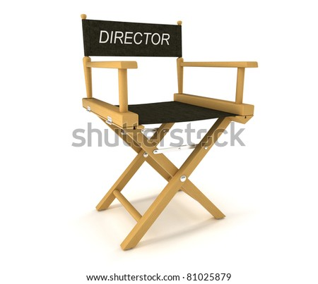 Flim industry: directors chair over white background