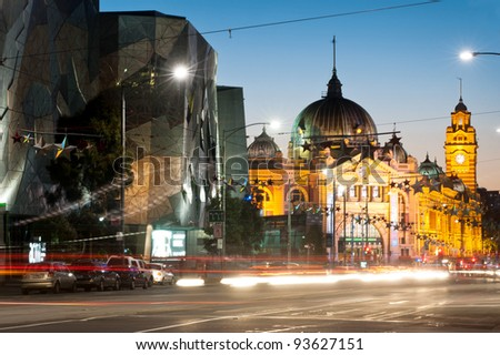Flinders station view from flinders street - Melbourne - Australia - stock photo