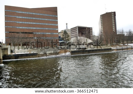 FLINT, MICHIGAN January 23, 2016: Flint River In Downtown Flint, January 23, 2016, Downtown Flint, Michigan - stock photo
