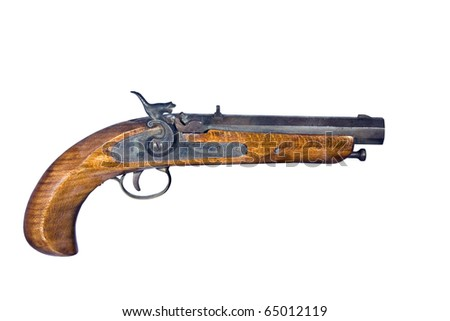 flintlock pistol isolated over a white background with clipping path at this size