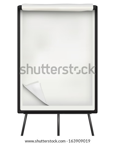Flip chart  paper and board over white background - stock photo