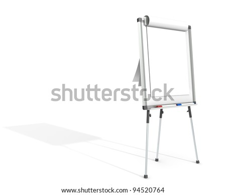 Flip Chart. Side view of a Flip Chart and 2 marker pens. White for copy space. Hard Shadow. - stock photo