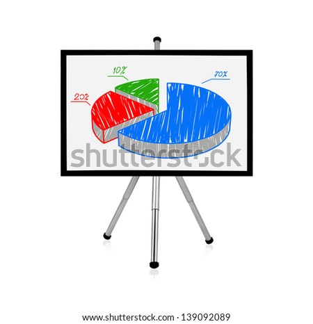 flip chart with drawing pie chart - stock photo