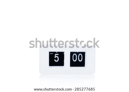 Flip clock show at 5 a.m - stock photo