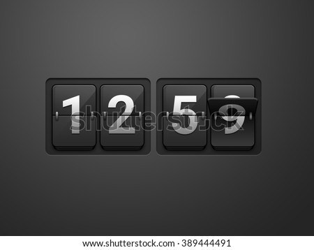 Flip clock show 12:59 on dark grey background. New year countdown. - stock photo