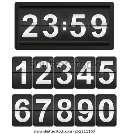 Flip clock with set of flip numbers   isolated on white background. Raster version - stock photo