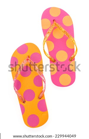 Flip flop fashion plastic shoes isolated on white background - stock photo