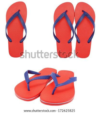 flip flop sandals beach shoes isolated white - stock photo