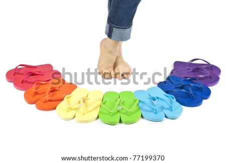 Flip Flops in Rainbow Colors Isolated on White - stock photo
