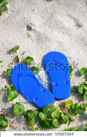 Flip Flops in the sand, perfect for cover art - stock photo