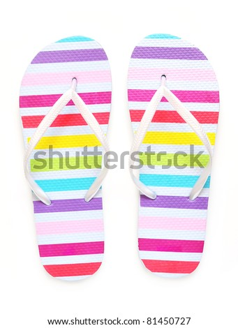 Flip flops isolated on white - stock photo