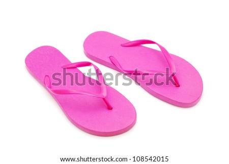 flip flops on white background - stock photo