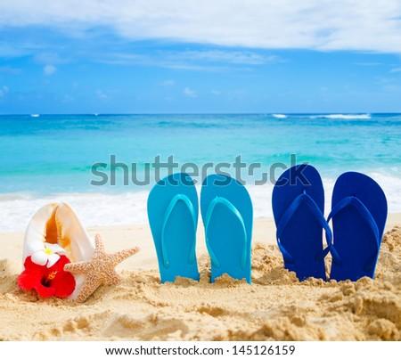 Flip flops, seashell and starfish with tropical flowers on sandy beach in Hawaii, Kauai - stock photo