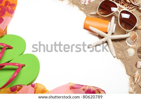 Flip flops,shawl, sunglasses,sunblock,seashells with sands,Copy space for your text. - stock photo